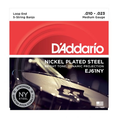 D'Addario EJ61NY 5-String Nickel Wound Loop End Banjo Strings 10-23 Medium