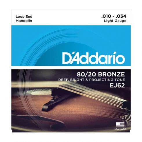 D'Addario EJ62 80/20 Bronze Mandolin Loopend 10-34 Light Strings