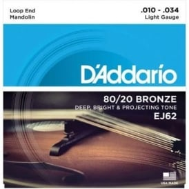D'Addario EJ62 80/20 Bronze Mandolin Loopend 10-34 Light Strings