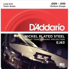 D'Addario EJ63 Tenor Banjo Strings, Nickel Wound, Loop End 9-30