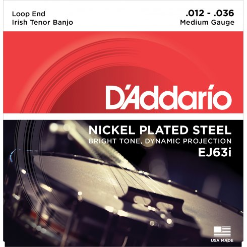 D'Addario EJ63i Irish Tenor Banjo Strings, Nickel Wound, Loop End 12-36, 2-Pack