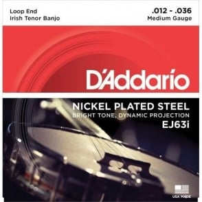 D'Addario EJ63i Irish Tenor Banjo Strings, Nickel Wound, Loop End 12-36
