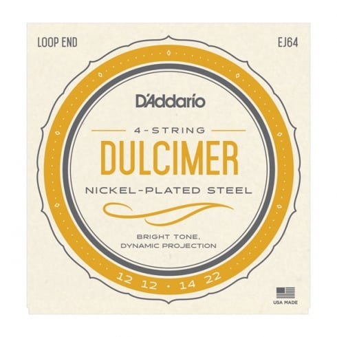 D'Addario EJ64 Nickel Dulcimer 12-22 4-String Strings Set