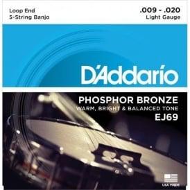 D'Addario EJ69 5-String Banjo Strings, Phosphor Bronze Wound, Loop End, 09-20 Light