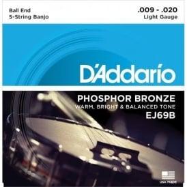 D'Addario EJ69B 5-String Banjo Strings, Phosphor Bronze Wound, Ball End, 09-20 Light