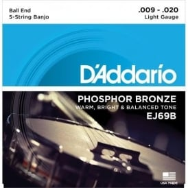 D'Addario EJ69B 5-String Banjo Strings, Phosphor Bronze Wound, Ball End, 9-20 Light