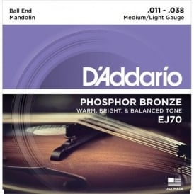 D'Addario EJ70 Mandolin Stings, Phosphor Bronze Wound, Ball End, 11-38 Medium-Light