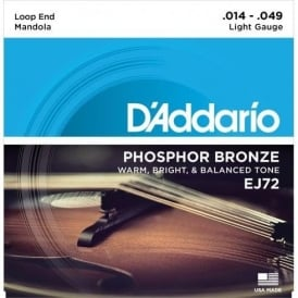 D'Addario EJ72 Mandola Strings, Phosphor Bronze Wound, Loop End 14-49 Light