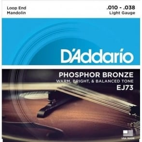 D'Addario EJ73 Mandolin Strings, Phosphor Bronze Wound Loop End 10-38 Light Gauge