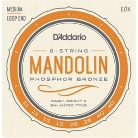 D'Addario EJ74 Mandolin Strings, Phosphor Bronze Wound, Loop End, 11-40 Medium