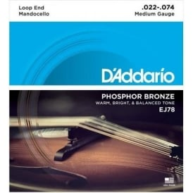 D'Addario EJ78 Mandocello Phosphor Bronze Wound Strings 22-74 Gauge