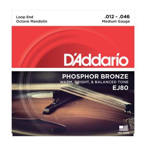 D'Addario EJ80 Phosphor Bronze Octave Mandolin Loopend 12-46 Medium