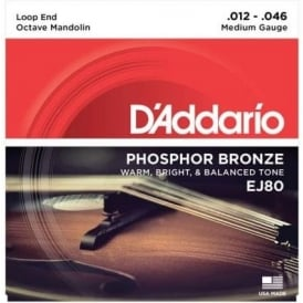 D'Addario EJ80 Phosphor Bronze Octave Mandolin Loopend 12-46 Medium