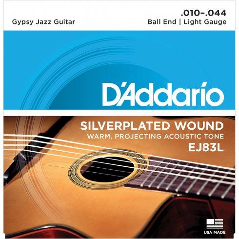 D'Addario EJ83L Gypsy Jazz Acoustic Guitar Strings 10-44 Ball End Light