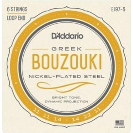 D'Addario EJ97-6 Nickel Wound 6-String Greek Bouzouki 11-22 Strings