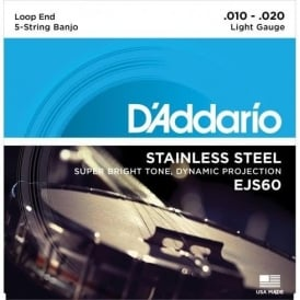 D'Addario EJS60 5-String Banjo, Stainless Steel Wound, Loop End, 10-20 Light