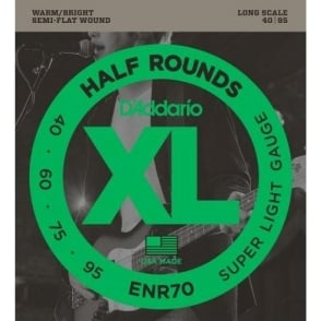 D'Addario ENR70 4-String Half Round 40-95 Long Scale Super Light Bass Guitar Strings