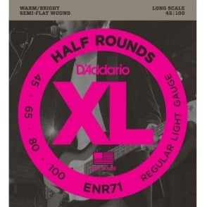 D'Addario ENR71 4-String Half Round 45-100 Regular Light Long Scale Bass Guitar Strings