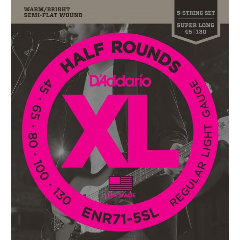 D'Addario ENR71-5SL 5-String Half Round 45-130 Super Long Scale Bass Guitar Strings