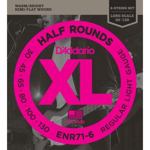 D'Addario ENR71-6 6-String Bass Guitar Strings Half Round 30-130, Long Scale