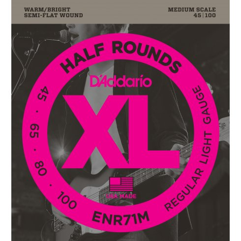 D'Addario ENR71M 4-String Half Round 45-100 Medium Scale Bass Guitar Strings