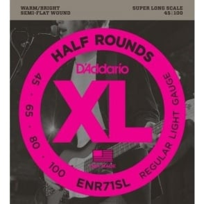 D'Addario ENR71SL 4-String Half Round 45-100 Super Long Scale Bass Guitar Strings