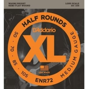 D'Addario ENR72 4-String Half Round 50-105 Long Scale Medium Bass Guitar Strings