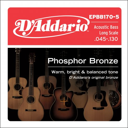 EPBB170-5 5-String Phosphor Bronze Acoustic Bass Guitar Strings 45-130 Long Scale