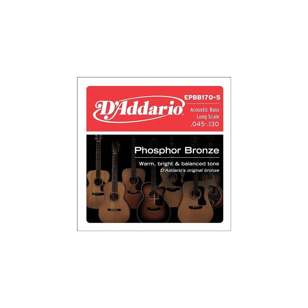 d 39 addario epbb170 5 5 string phosphor bronze acoustic bass guitar strings 45 135. Black Bedroom Furniture Sets. Home Design Ideas