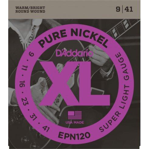 D'Addario EPN120 XL Pure Nickel Electric Guitar Strings 09-41