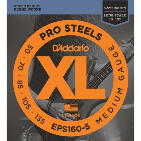 D'Addario EPS160-5 5-String ProSteel Stainless Steel 50-135 Long Scale Bass Guitar Strings