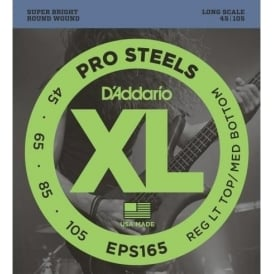 D'Addario EPS165 4-String ProSteel Bass Strings 45-105 Reg Lt Top / Med Bottom
