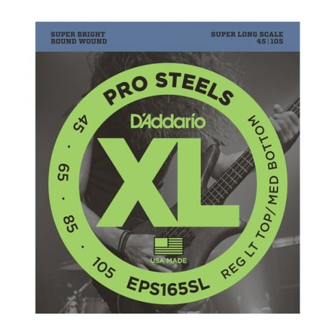 D'Addario EPS165SL 4-String ProSteel 45-105 Super Long Scale Bass Guitar Strings