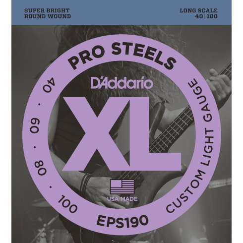 D'Addario EPS190 4-String ProSteel 40-100 Long Scale Custom Light Bass Guitar Strings