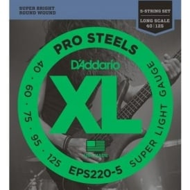 D'Addario EPS220-5 5-String ProSteel Stainless Steels 40-125 Long Scale Bass Guitar Strings
