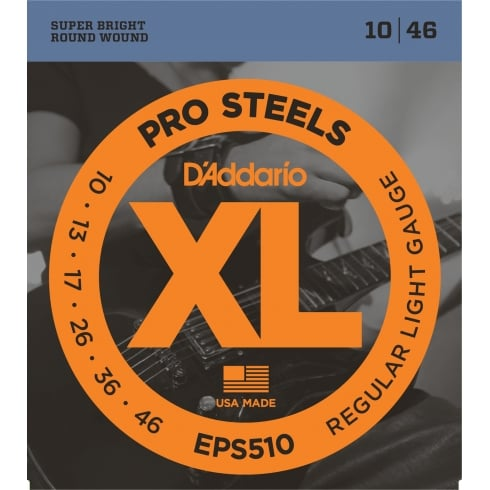 D'Addario EPS510 ProSteels, Electric Guitar Strings, 10-46 Regular Light