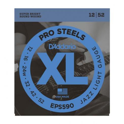 D'Addario EPS590 XL ProSteels Electric Guitars Strings 12-52 Gauge