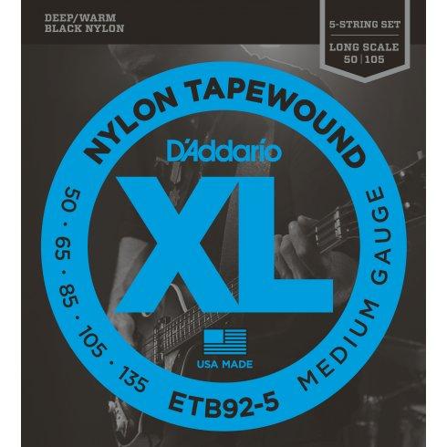 D'Addario ETB92-5 5-String Tapewound Bass Guitar Strings, Medium 50-135, Long Scale