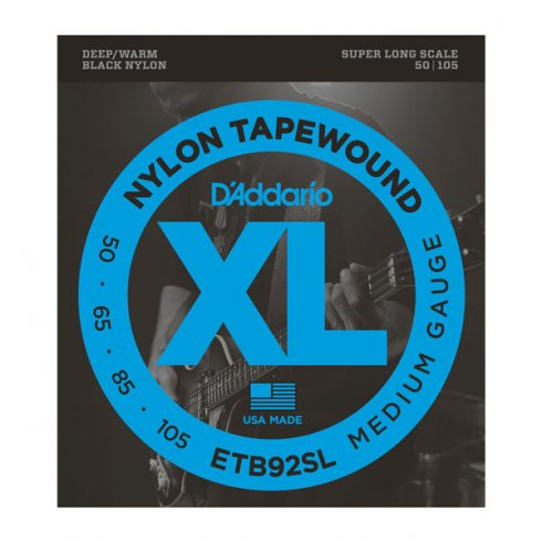 D'Addario ETB92SL Tapewound 50-105 Super Long Scale, 4-String Bass Guitar Strings