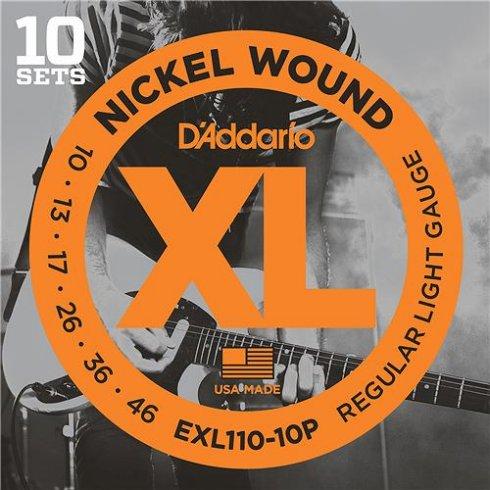 D'Addario EXL110-10P Nickel Wound Electric Guitar Strings 10-46 Regular, 10-Pack