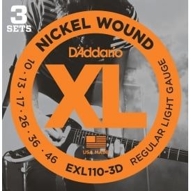 D'Addario EXL110-3D Nickel Guitar Strings 10-46 Regular, 3-Pack