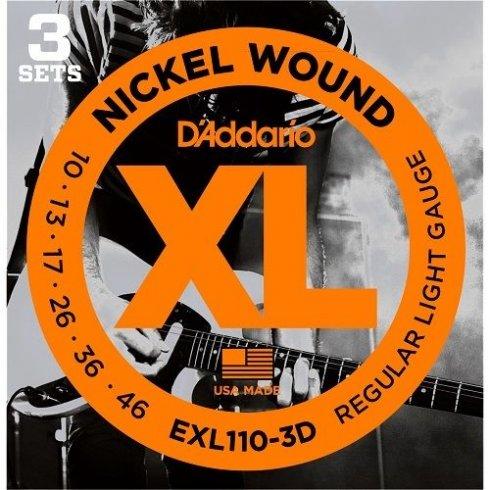 D'Addario EXL110-3D Nickel Wound Electric 10-46 Regular Light 3-Pack Guitar Strings