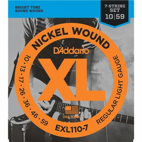 D'Addario EXL110-7 Nickel Wound Electric 10-59 7-String Guitar Strings