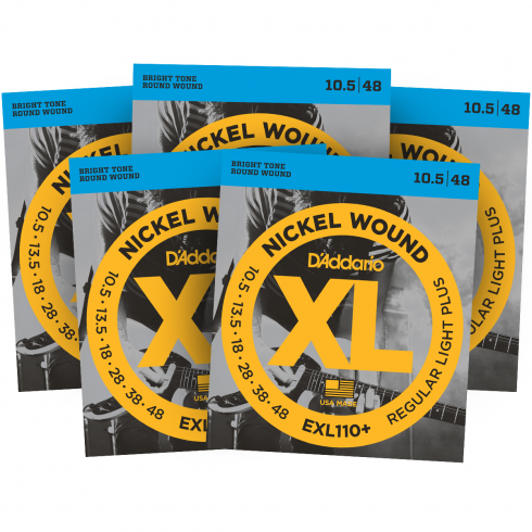 D'Addario EXL110+ Nickel Wound Electric 10.5-48 Guitar Strings 5-Pack
