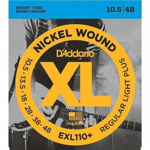 D'Addario EXL110+ Nickel Wound Electric 10.5-48 Regular Plus Guitar Strings