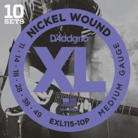 D'Addario EXL115-10P Nickel Guitar Strings 11-49 Jazz Rock, 10-Pack