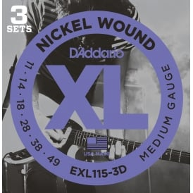 D'Addario EXL115-3D Nickel Guitar Strings 11-49 Jazz Rock, 3-Pack