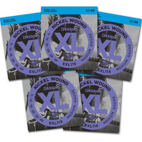 D'Addario EXL115-5P Nickel Guitar Strings 11-49 Jazz Rock, 5-Pack
