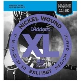 D'Addario EXL115BT Nickel Wound Balanced Tension Electric Guitar Strings 11-49 Medium