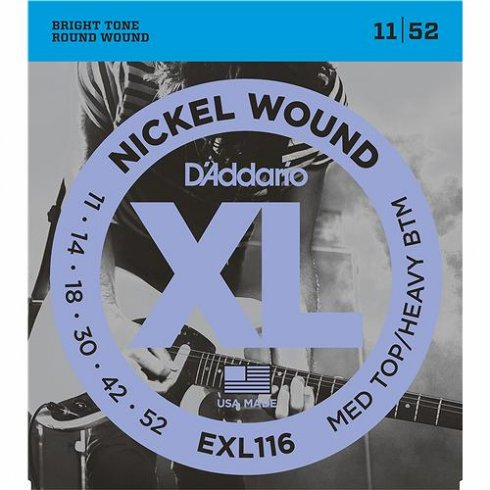 D'Addario EXL116 Nickel Guitar Strings 11-52 Medium Top Heavy Bottom